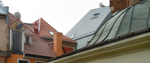 Panorama of rRoofs in old part of Riga, Latvia