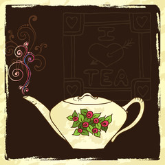 Tea party invitation card template vector