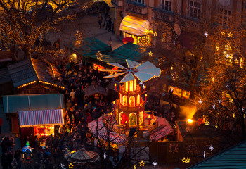 Typical wooden christmas carousel, Munich