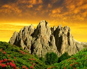 Dolomite peaks, Rosengarten in the sunset, Italy Alps