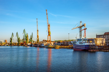 Construction site in the Shipyard of Gdansk Poland.