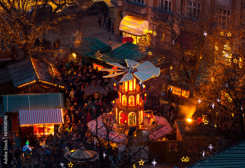 Typical wooden christmas carousel, Munich - 64908146