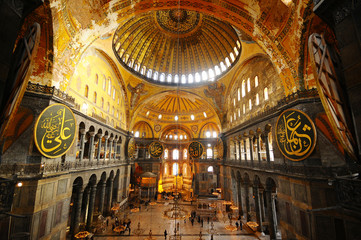 Interior of the Hagia Sophia in, Istanbul, Turkey