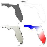 Florida blank outline map set