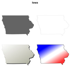 Iowa blank outline map set