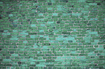 Turquoise brick wall (background, wallpaper, bricks)