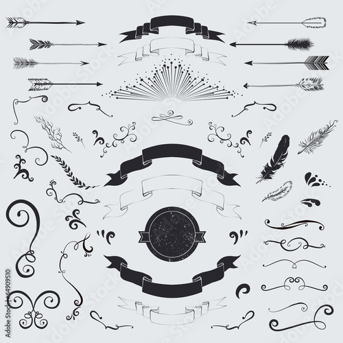Decorative elements set: arrows, laurel, feathers and ribbons. - 64909510
