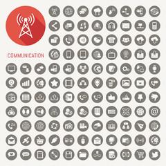 Communication icons with black background