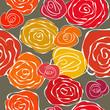 Seamless vintage romantic floral pattern red orange yellow roses