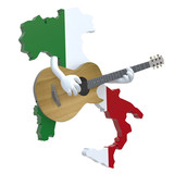 map of Italy with arms that play guitar