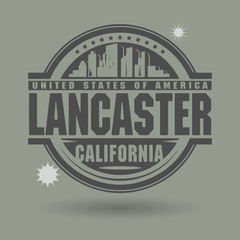 Stamp or label with text Lancaster, California inside
