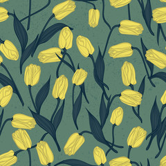 Seamless floral pattern with tulips. Vector background.