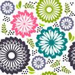 Seamless pattern  retro flowers pink purple green white