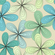 Cute spring blue and green flower pattern seamless background