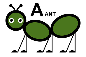 illustration of isolated animal alphabet. A is for ant.