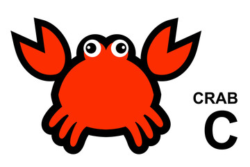 illustration of isolated animal alphabet. C is for crab.