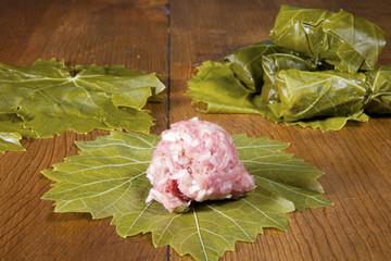 Stuffing Grape Leaves