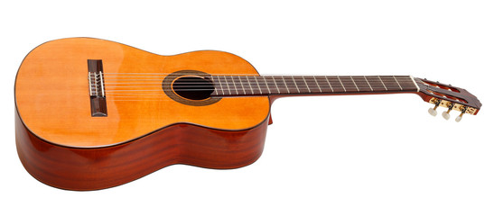 side view of classical acoustic guitar