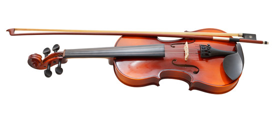 traditional wooden fiddle with french bow