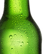 canvas print picture - Green bottle of beer with dew drops