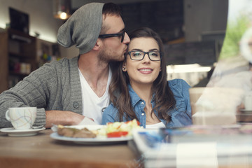 Romantic time of couple at cafe