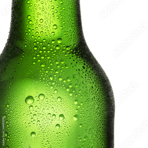 canvas print picture Green bottle of beer with dew drops