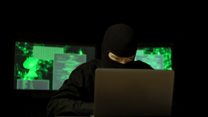 Dark Hacker with mask breaking code (HD)