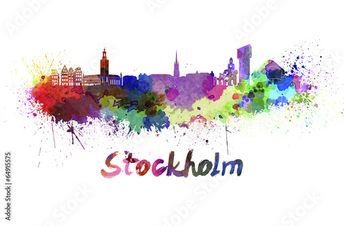 Poster Stockholm skyline in watercolor