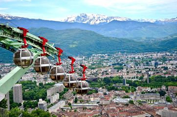 Rope-way in Grenoble, France.