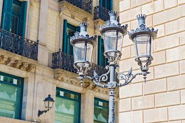 Street lamps in Barcelona, Spain