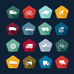 Transport icons, transportation buttons
