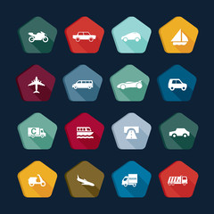 Transport icons, transportation buttons collection