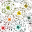 Vector flowers sketchy background Seamless pattern