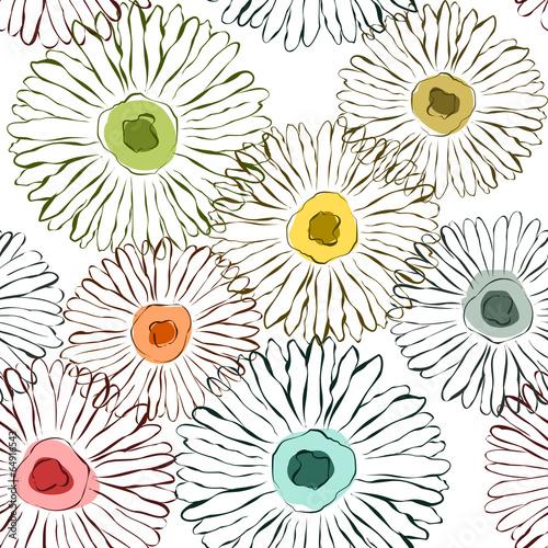 Fototapeta Vector flowers sketchy background Seamless pattern