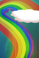 Nubes y arcoiris verde