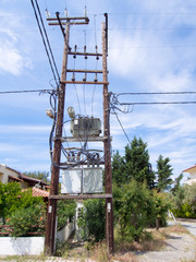 Electricity Pylons in a village