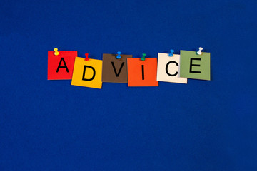 Advice, sign series for business coaching, mentoring and help.