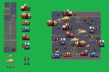 construction site - pixel art style game elements vector set