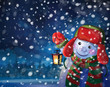 Vector snowman holding  lantern on snowfall background.