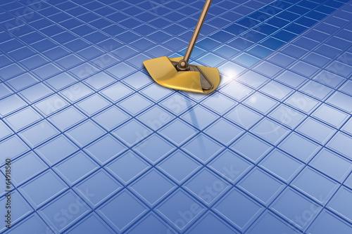 Mocio pavimento blu e riflesso
