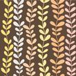Cute spring floral seamless pattern in brown, orange, yellow