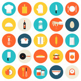 Fototapety Kitchen cooking tools and utensils flat icons