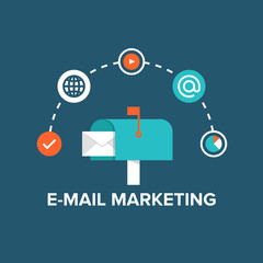 E-mail marketing flat illustration