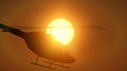 Helicopter passing through the sun