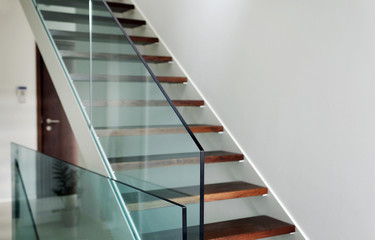 hardened glass balustrade in house