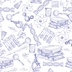 Science sketch seamless pattern