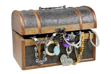 Ornamental Wooden Treasure Chest Overflowing with Jewellery