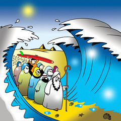 Moses parting the Red Sea (with a surfboard)