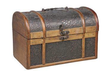 Ornamental Treasure Chest with Brass Handle and Clasp