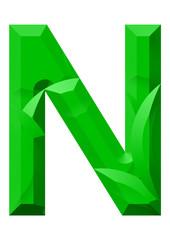 yeşil n harf tasarımı